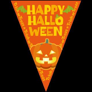 商用フリーイラスト_無料_10月_ハロウィン_かぼちゃ_halloween_フラッグガーランド_三角旗_飾り_オレンジ