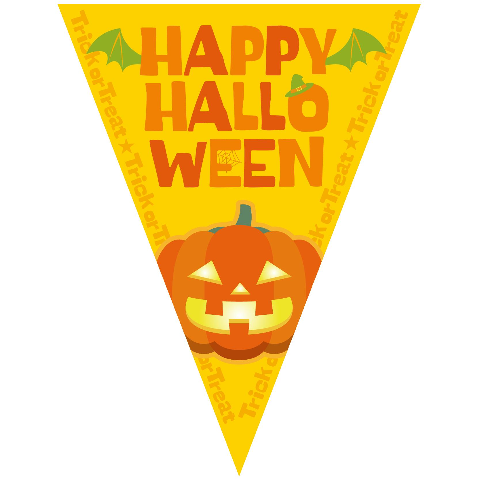 商用フリーイラスト_無料_10月_ハロウィン_かぼちゃ_halloween_フラッグガーランド_三角旗_飾り_黄色