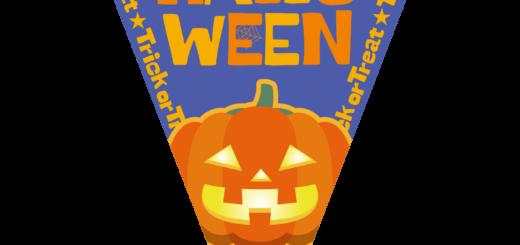 商用フリーイラスト_無料_10月_ハロウィン_かぼちゃ_halloween_フラッグガーランド_三角旗_飾り_青