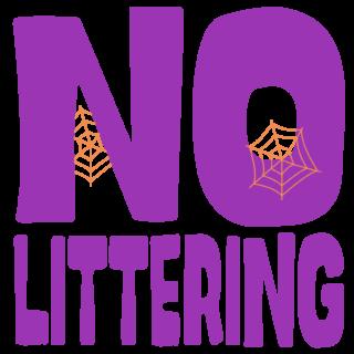 商用フリーイラスト_無料_10月_ハロウィン_がいこつ_halloween_NO LITTERING_ポイ捨て禁止ロゴ_紫
