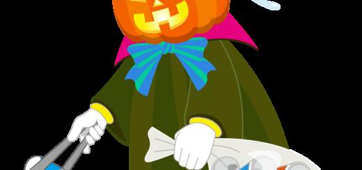 商用フリーイラスト_無料_10月_ハロウィン_ゴミ拾いかぼちゃ_掃除_halloween_NO LITTERING_ポイ捨て禁止