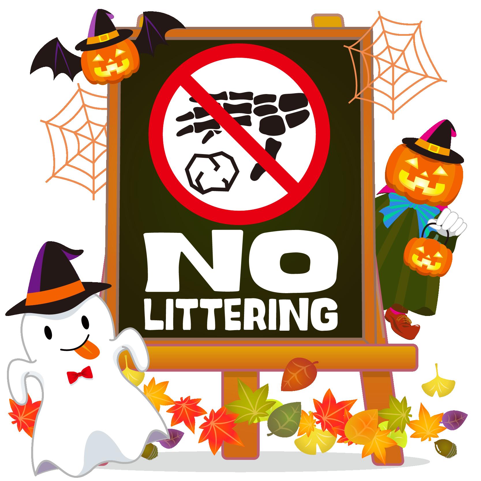 商用フリーイラスト_無料_10月_ハロウィン_おばけ_かぼちゃ_halloween_フレーム_イーゼル_黒板_NO LITTERING_ポイ捨て禁止
