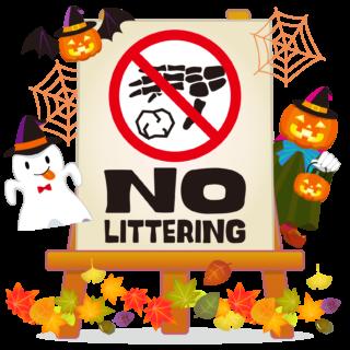 商用フリーイラスト_無料_10月_ハロウィン_おばけ_かぼちゃ_halloween_フレーム_イーゼル_キャンバス_NO LITTERING_ポイ捨て禁止