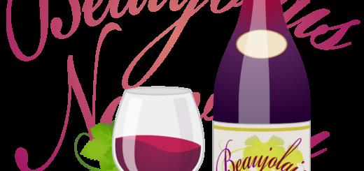 商用フリーイラスト_11月_ボジョレーヌーボー_ワイン_赤_ボトル&グラス03反_文字転_Beaujolais Nouveau