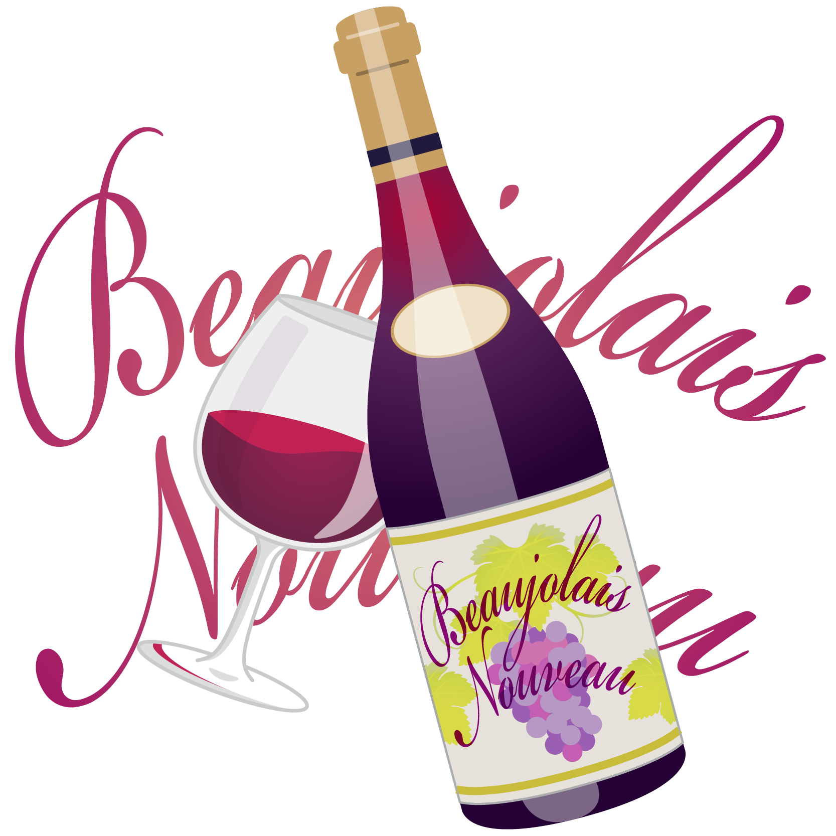 商用フリーイラスト_11月_ボジョレーヌーボー_ワイン_赤_ボトル&グラス04反転_文字_Beaujolais Nouveau