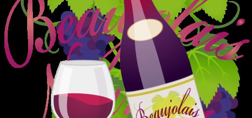 商用フリーイラスト_11月_ボジョレーヌーボー_ワイン_赤_ボトル&グラス_ぶどう_文字_Beaujolais Nouveau