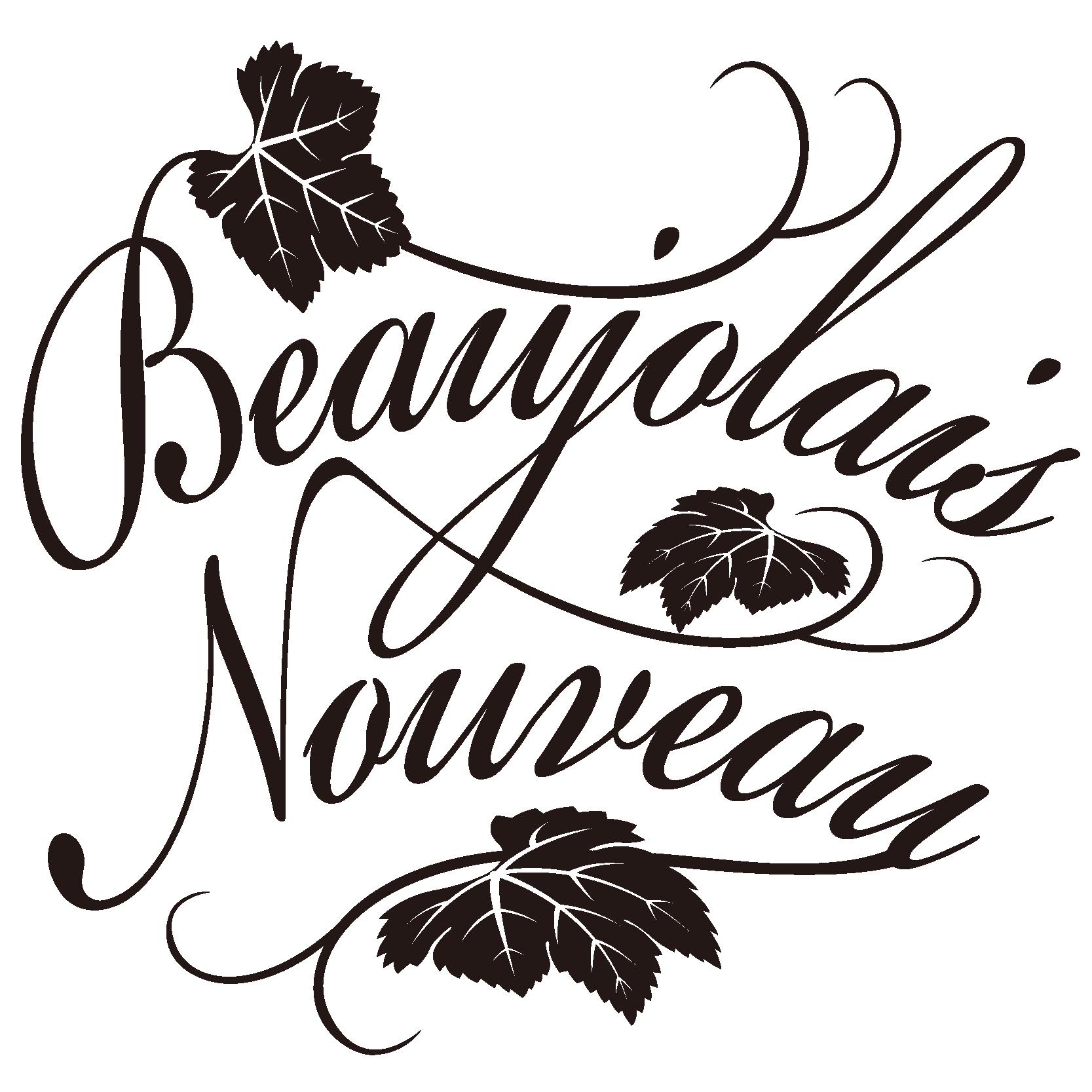 商用フリーイラスト_11月_ボジョレーヌーボー_文字_黒_Beaujolais Nouveau