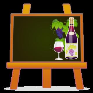 商用フリーイラスト_11月_ボジョレーヌーボー_ワイン_赤_Beaujolais Nouveau_イーゼル_フレーム_黒板横_チョークアート02