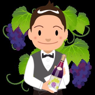 商用フリーイラスト無料_11月_ボジョレーヌーボー_ワイン_赤_Beaujolais Nouveau_ワイン_男性ソムリエ01バストアップ_ぶどう