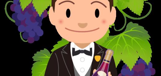 商用フリーイラスト無料_11月_ボジョレーヌーボー_ワイン_赤_Beaujolais Nouveau_ワイン_男性ソムリエ02バストアップ_ぶどう