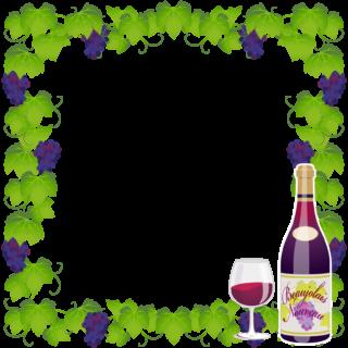 商用フリーイラスト無料_11月_ボジョレーヌーボ_ワイン_赤_Beaujolais Nouveau_フレーム_ぶどう_pop02