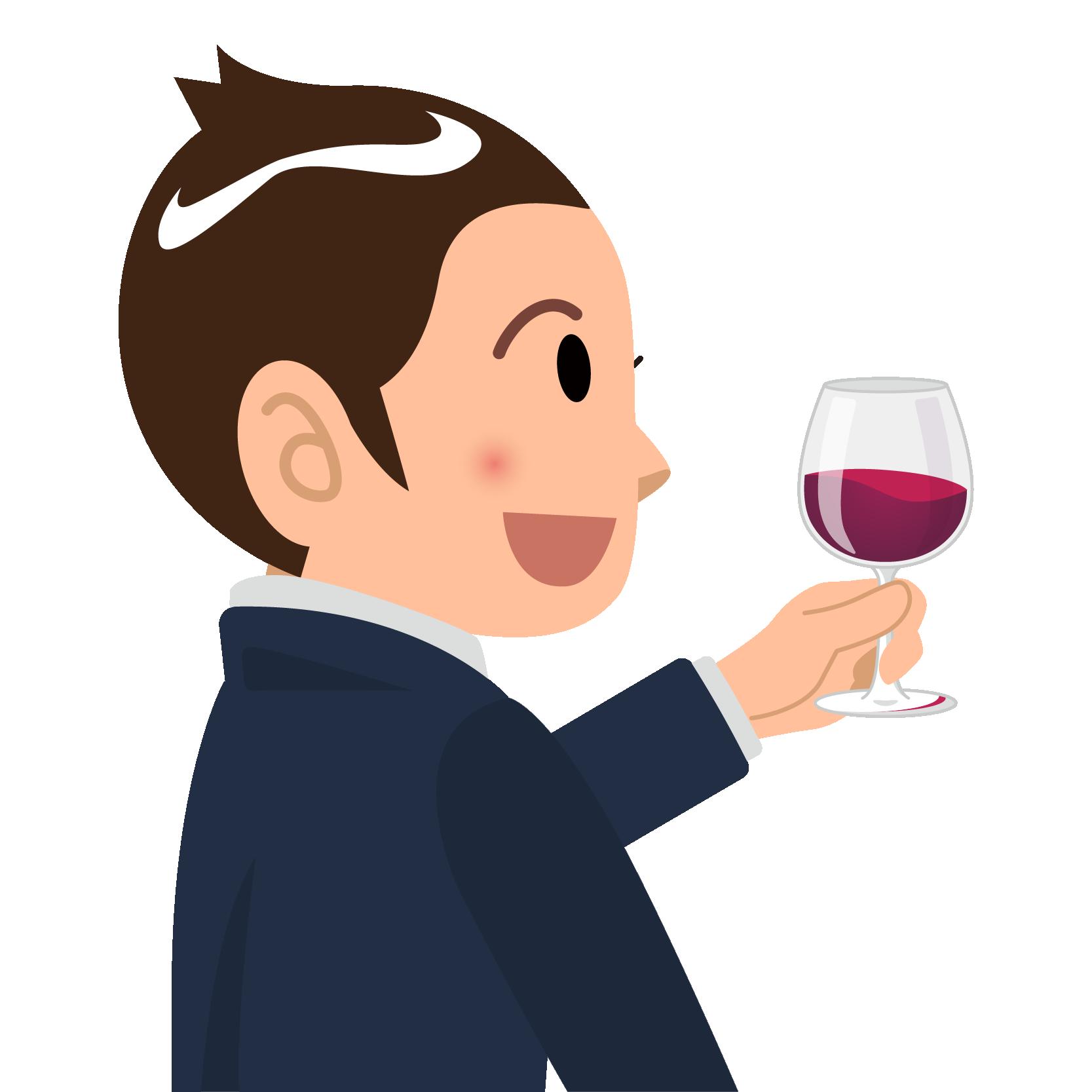 商用フリーイラスト無料_11月_ボジョレーヌーボー_ワイン_赤_Beaujolais Nouveau_乾杯_男性_右向き