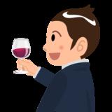 商用フリーイラスト無料_11月_ボジョレーヌーボー_ワイン_赤_Beaujolais Nouveau_乾杯_男性_左向き