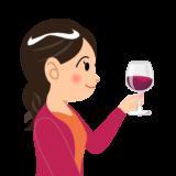 商用フリーイラスト無料_11月_ボジョレーヌーボー_ワイン_赤_Beaujolais Nouveau_乾杯_女性_右向き