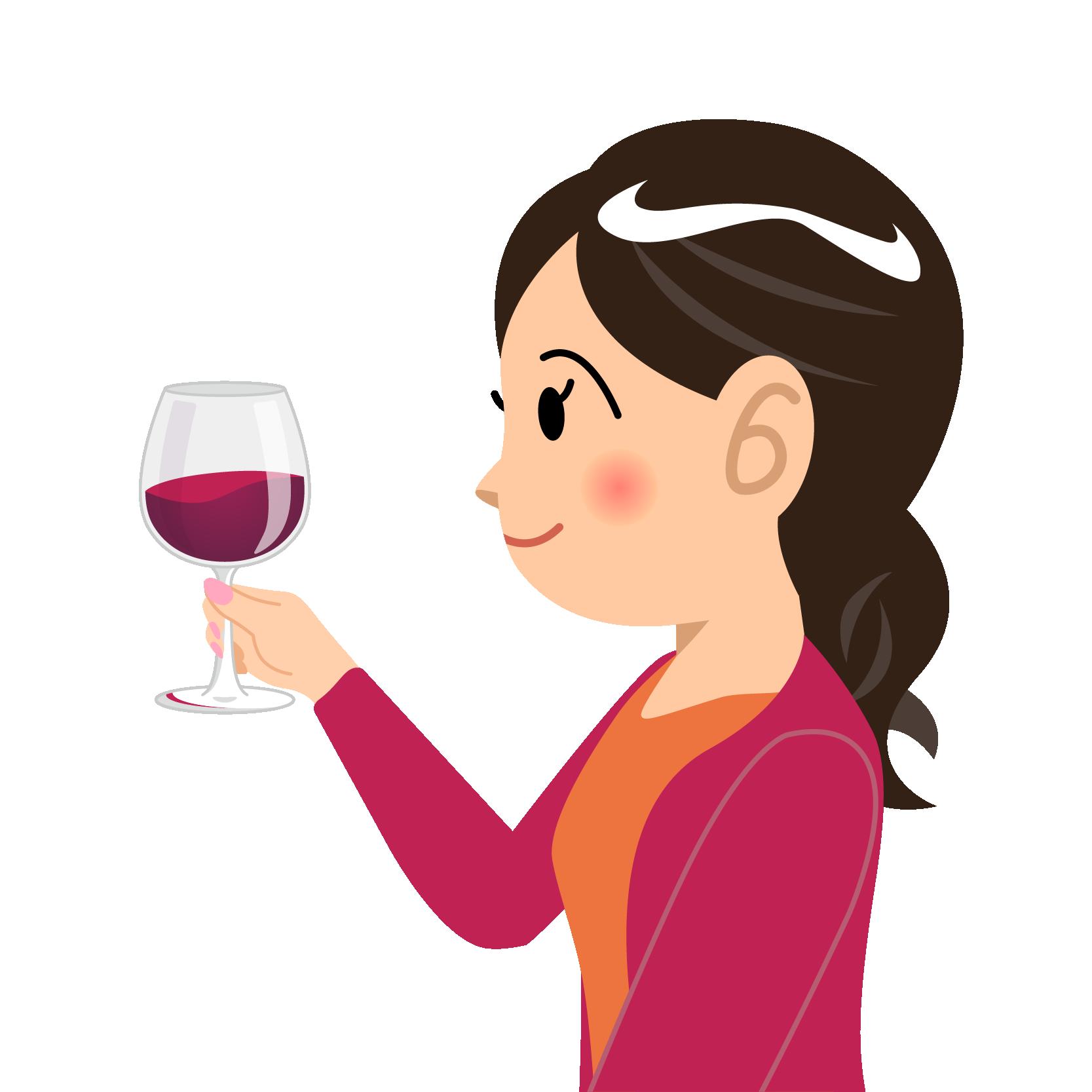 商用フリーイラスト無料_11月_ボジョレーヌーボー_ワイン_赤_Beaujolais Nouveau_乾杯_女性_左向き