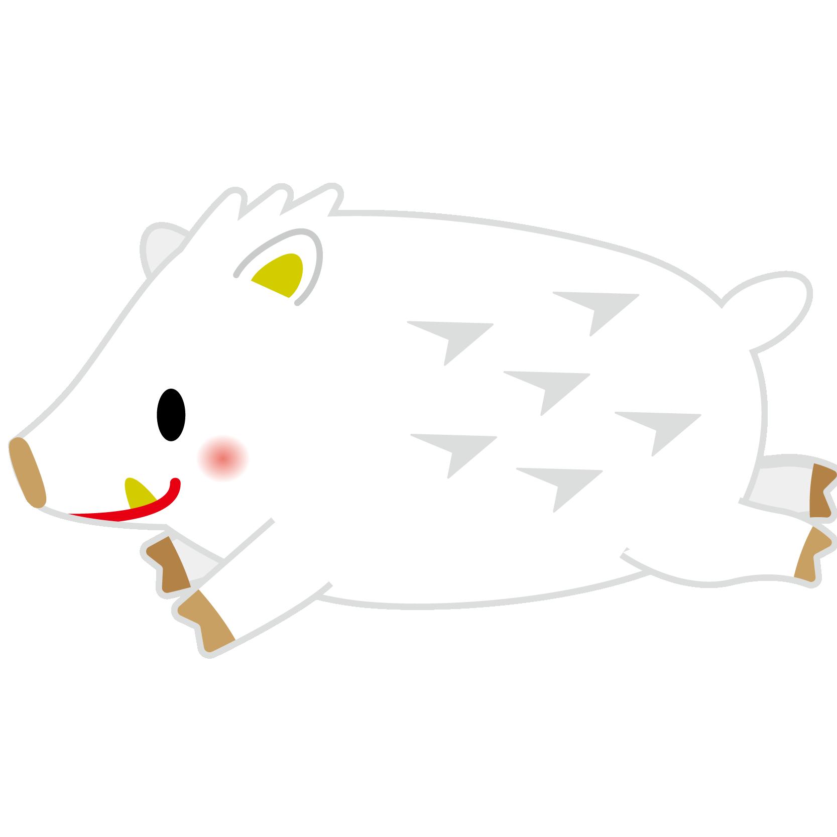 商用フリー・無料イラスト_白干支_干支いのしし(イノシシ・猪)_亥年20