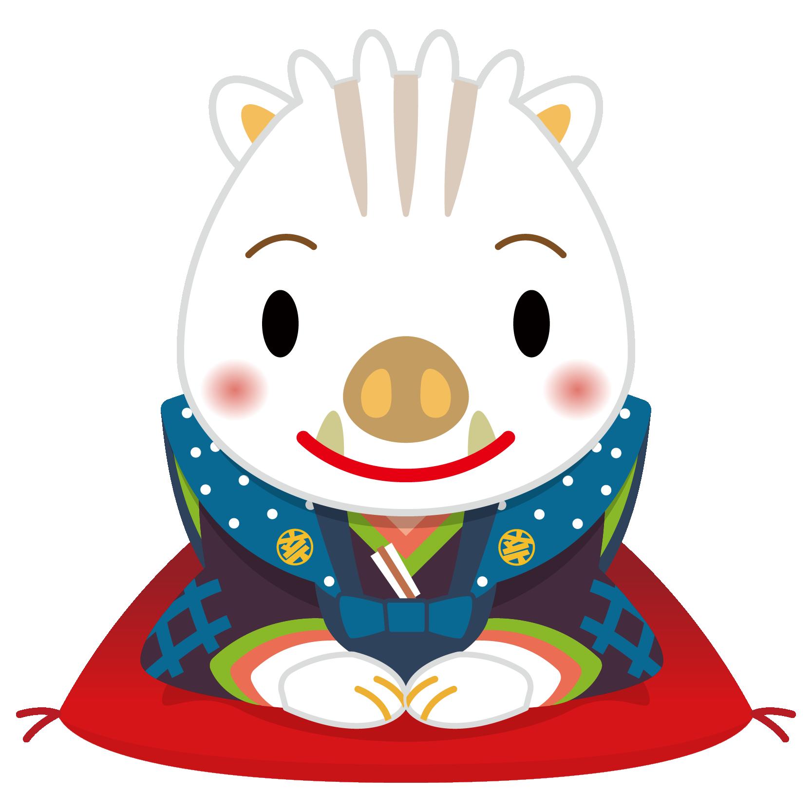 商用フリー・無料イラスト_白干支_干支いのしし(イノシシ・猪・うりぼう・ウリ坊)福助