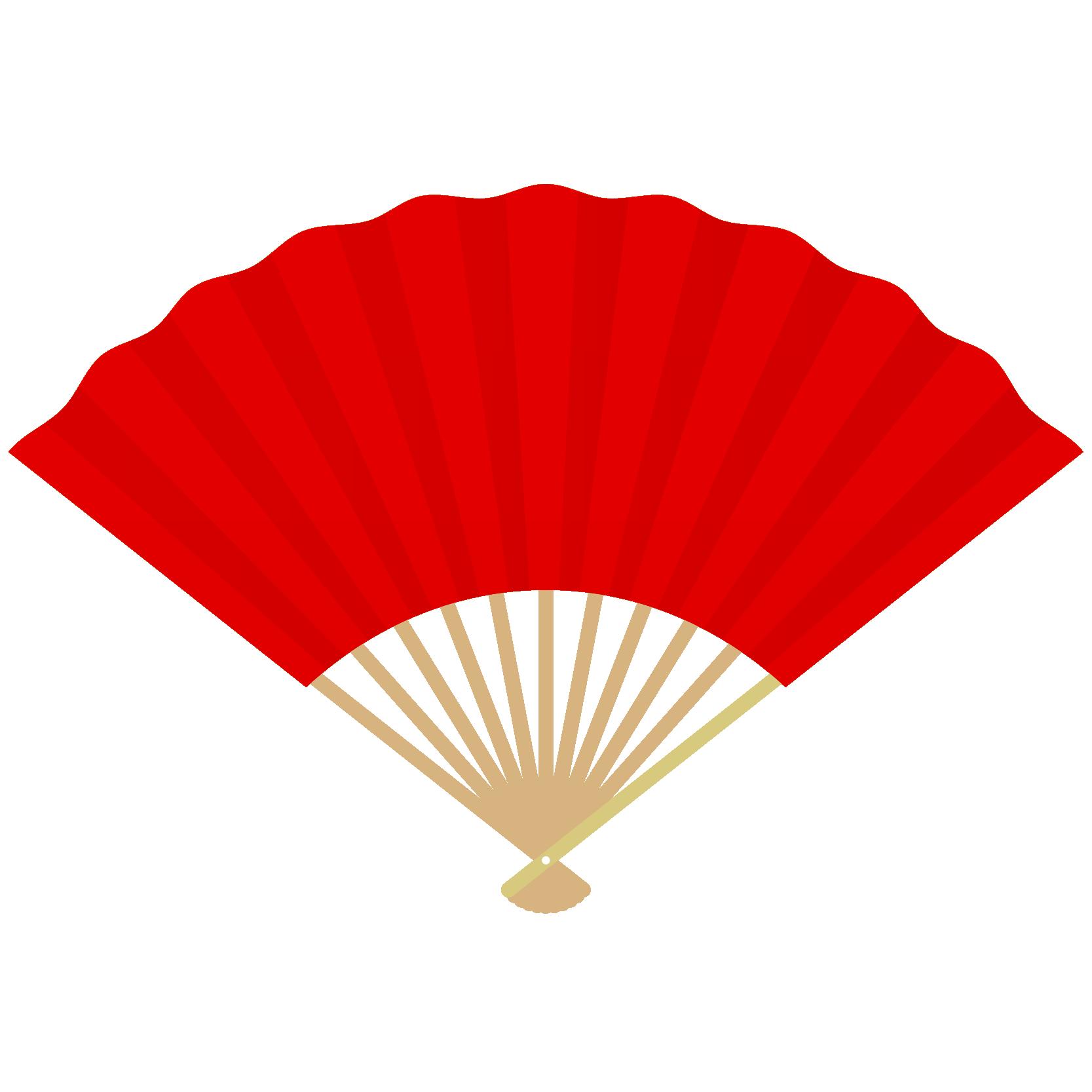 商用フリー・無料イラスト_縁起物_扇(扇子・せんす)赤