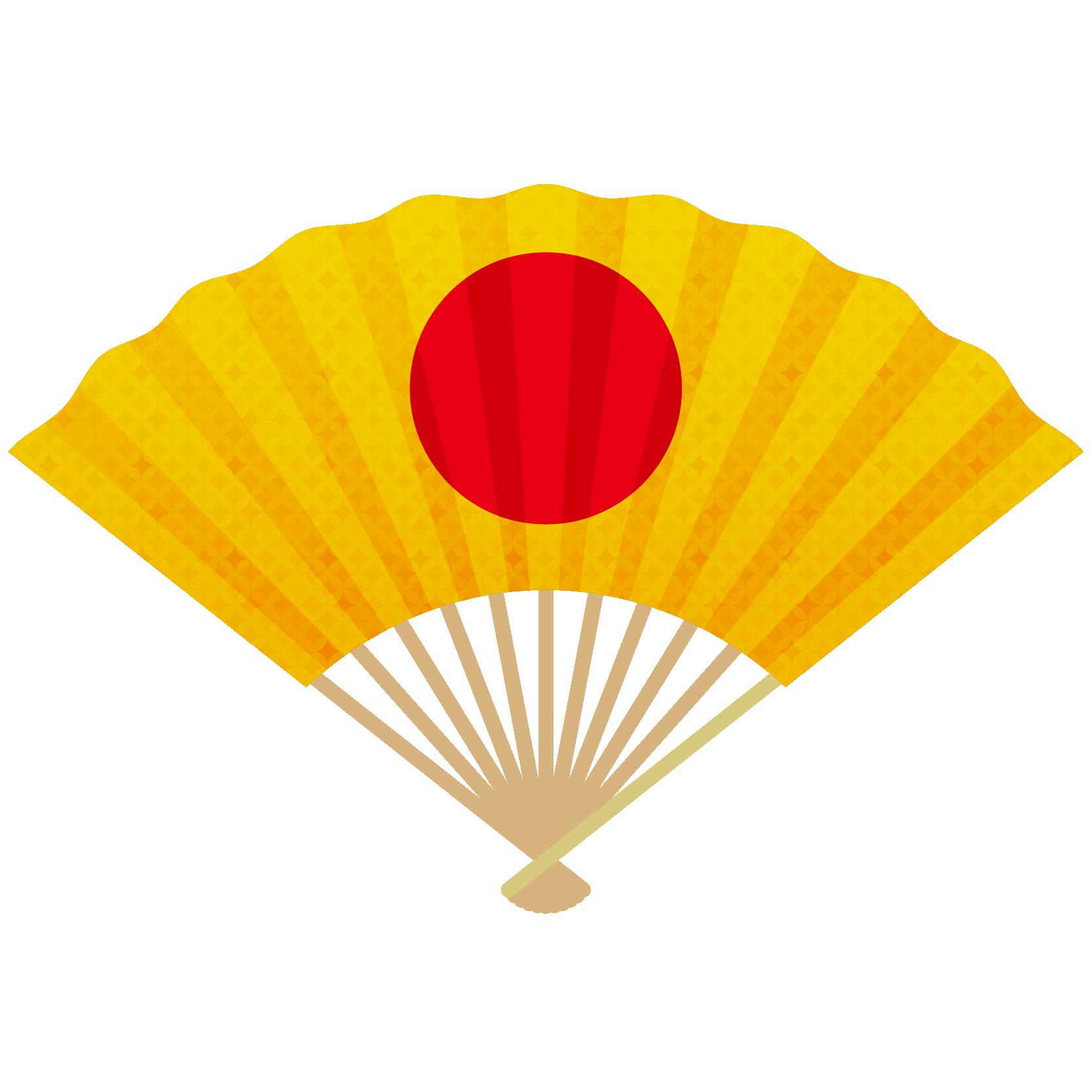 商用フリー・無料イラスト_縁起物_扇(扇子・せんす)金・日の丸