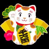 商用フリー・無料イラスト_白招き猫_右手上げ_千万両小判_金屏風