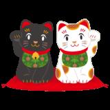 商用フリー・無料イラスト_招き猫白黒_白(左手上げ)_黒(黒右手上げ)