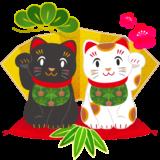 商用フリー・無料イラスト_招き猫白黒_白(左手上げ)_黒(黒右手上げ)_金屏風_松竹梅