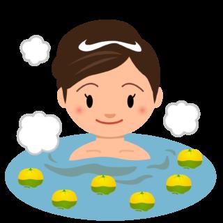 商用フリー・無料イラスト_ゆず湯に入る女性(柚子湯yuzu)_冬至005