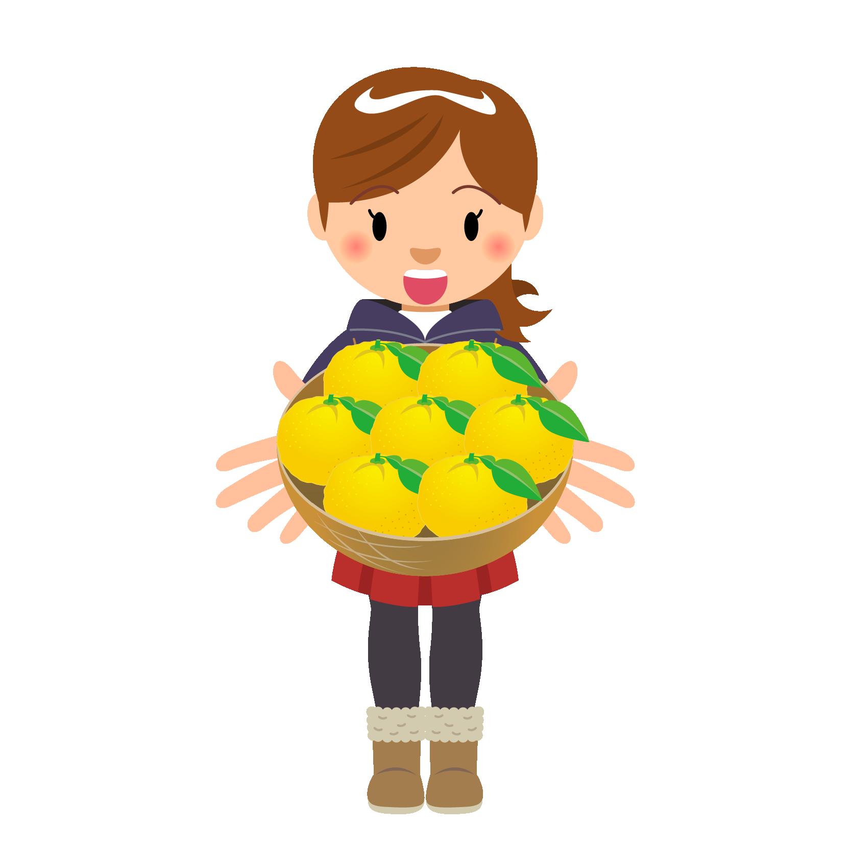 商用フリー 無料イラスト ゆずを持つ女性全身 柚子yuzu 冬至009 商用ok フリー素材集 ナイスなイラスト