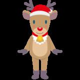 商用フリー・無料イラスト_クリスマス_トナカイ(Christmas/reindeer)サンタ帽06