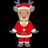 商用フリー・無料イラスト_クリスマス_トナカイ全身(Christmas/reindeer)サンタ服07