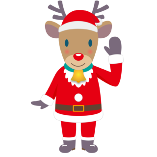 商用フリー・無料イラスト_クリスマス_トナカイ全身(Christmas/reindeer)サンタ服08