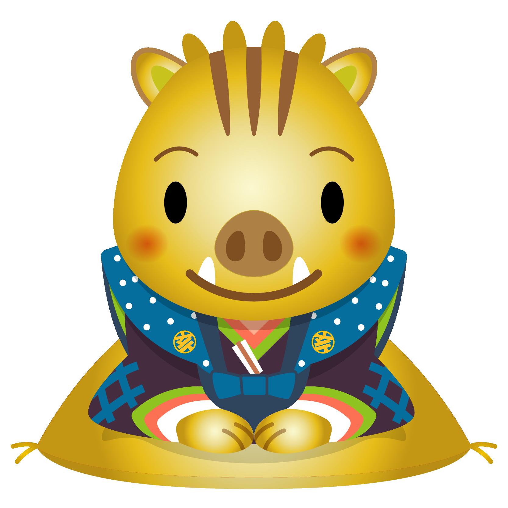 商用フリー・無料イラスト_金干支_干支いのしし(イノシシ・猪・うりぼう・ウリ坊)福助