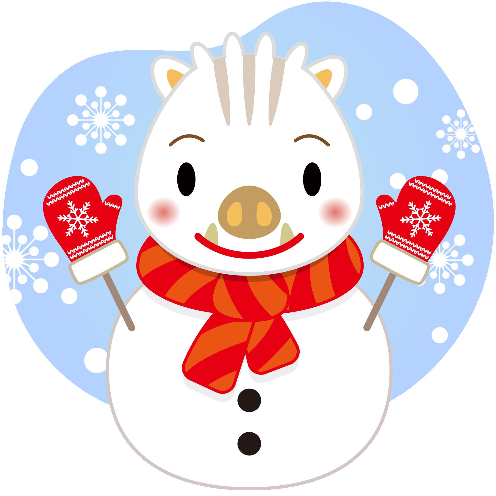 商用フリー・無料イラスト_白干支_干支いのしし(イノシシ・猪・うりぼう・ウリ坊)雪だるま