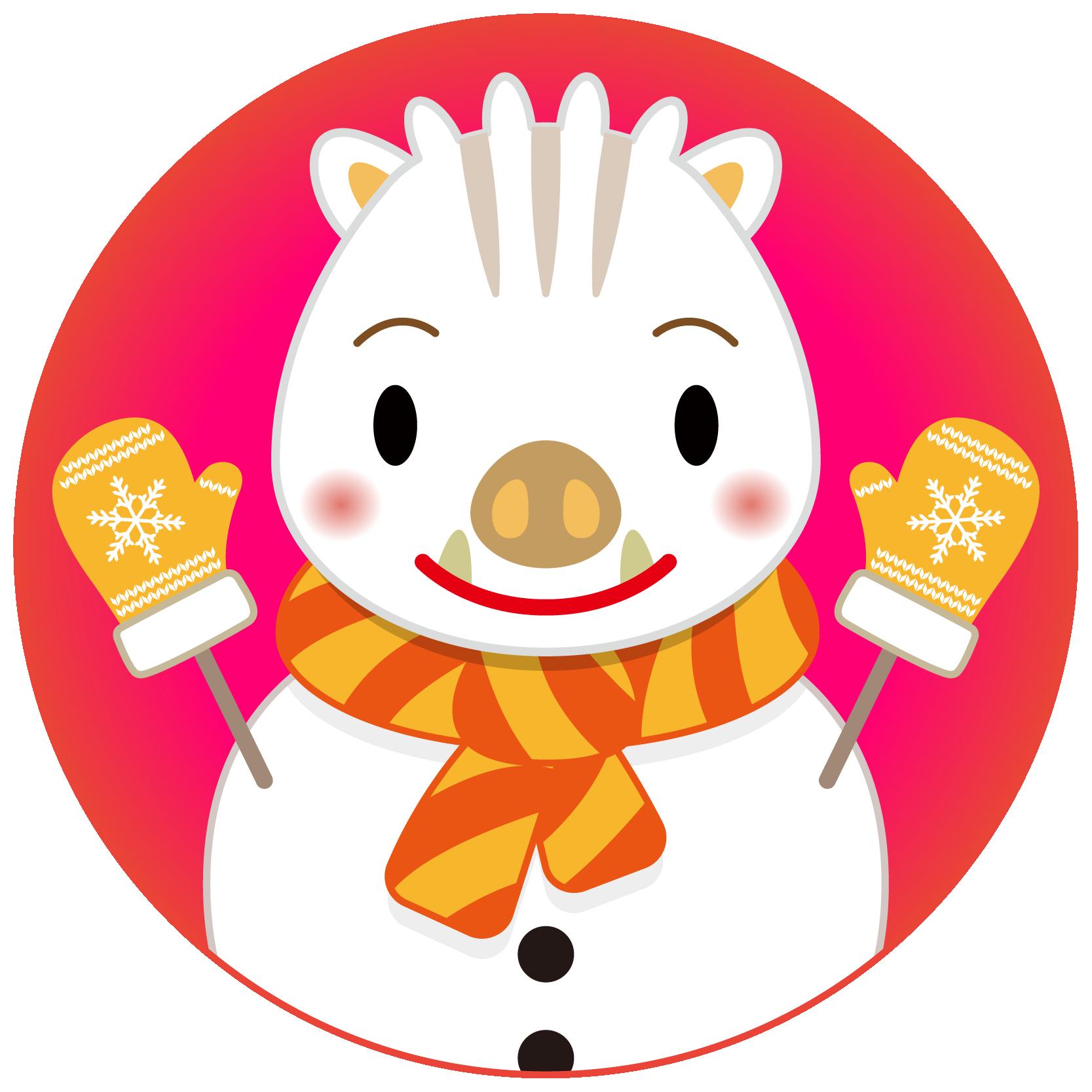 商用フリー・無料イラスト_白干支_干支いのしし(イノシシ・猪・うりぼう・ウリ坊)雪だるま_背景赤