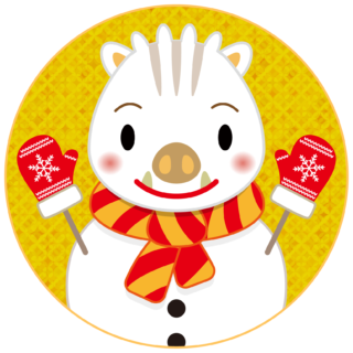 商用フリー・無料イラスト_白いのしし(イノシシ・猪・うりぼう・ウリ坊)雪だるま_背景金