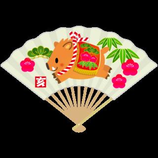 商用フリー・無料イラスト_いのしし(イノシシ・猪・うりぼう・ウリ坊)白扇_松竹梅_亥年101