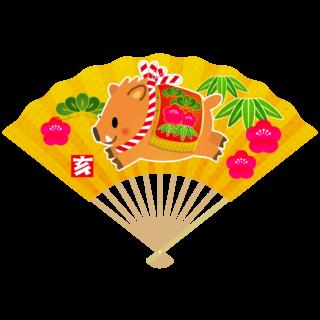 商用フリー・無料イラスト_いのしし(イノシシ・猪・うりぼう・ウリ坊)金扇_松竹梅_亥年102
