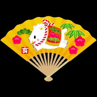 商用フリー・無料イラスト_白いのしし(イノシシ・猪・うりぼう・ウリ坊)金扇_松竹梅_亥年104