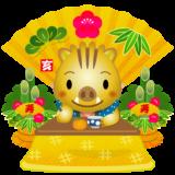 商用フリー・無料イラスト_干支_金いのしし(イノシシ・猪)金こたつ_みかん_お茶_門松_金扇子_亥年135