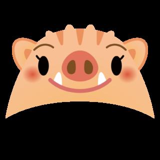 商用フリー・無料イラスト_干支_いのしし(イノシシ・猪)女の子かぶり物_亥年138