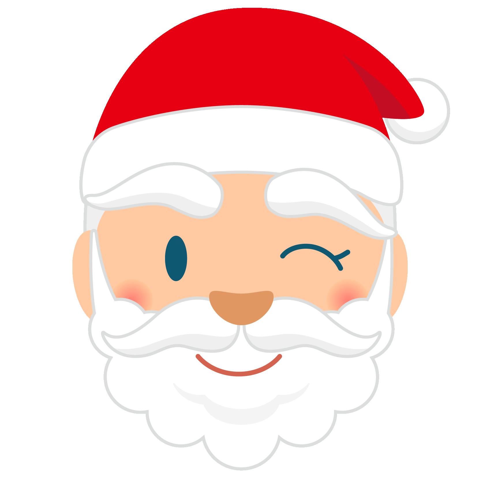 商用フリー・無料イラスト_クリスマス_サンタクロース_顔_ウインク