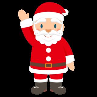 商用フリー・無料イラスト_クリスマス_サンタクロース(Santa Claus)_全身_左手上げ