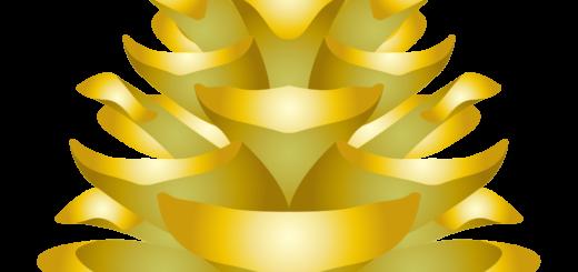 商用フリー・無料イラスト_秋_松ぼっくり_松かさ金色_pinecone