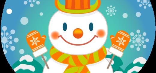 商用フリー・無料イラスト_クリスマス_スノーマン(雪だるま)_雪背景_snowman_005