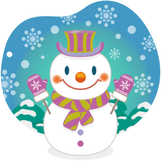 商用フリー・無料イラスト_クリスマス_スノーマン(雪だるま)_雪背景_snowman_007