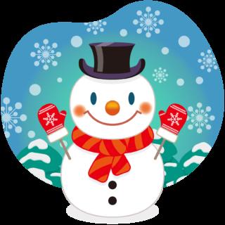 商用フリー・無料イラスト_クリスマス_スノーマン(雪だるま)_雪背景_snowman_008