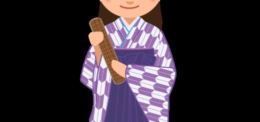商用フリー・無料イラスト_大学卒業式_袴姿の女の子_矢絣_紫_卒業01