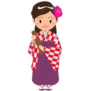 商用フリー・無料イラスト_大学卒業式_袴姿の女の子_矢絣_赤_卒業03