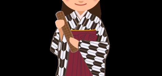 商用フリー・無料イラスト_大学卒業式_袴姿の女の子_矢絣_黒_卒業05
