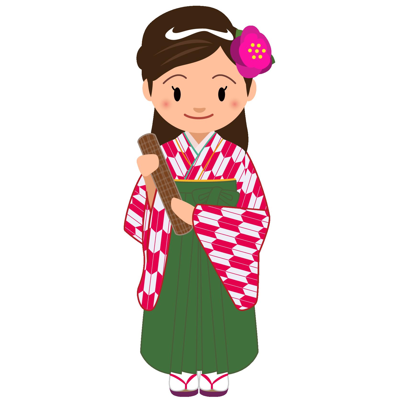 商用フリー・無料イラスト_大学卒業式_袴姿の女の子_矢絣_紅_卒業07